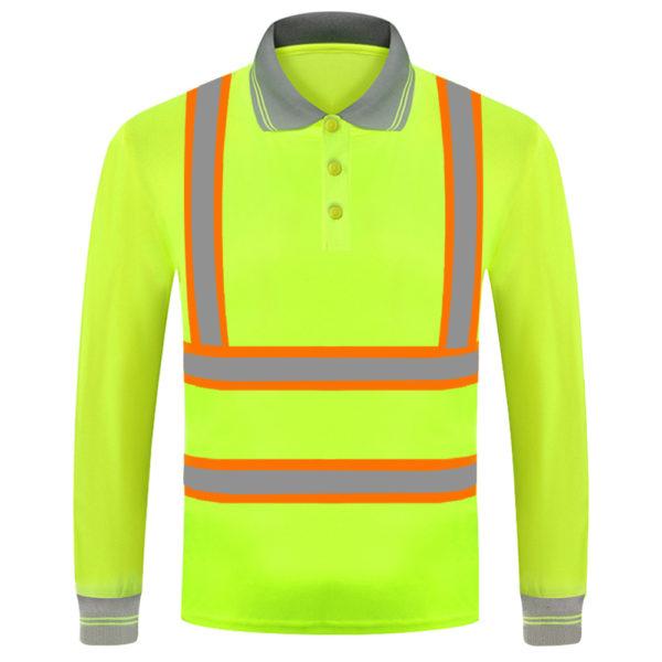 long sleeve safety green shirt-3